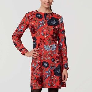 LOFT Primavera red floral print long sleeve dress